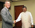Dr. Paul Jacobs, Executive Chairman, Qualcomm Incorporated, calling on the Union Minister for Electronics & Information Technology and Law & Justice, Shri Ravi Shankar Prasad, in New Delhi on August 29, 2016.jpg