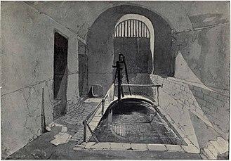 Roman Baths, Strand Lane - Drawing of the Roman Baths on Strand Lane by John Wykeham Archer, 1841