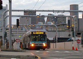 Silver Line (MBTA) - Dual-mode bus operating in electric mode on the Silver Line Waterfront.