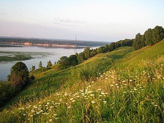Bogorodsky District, Nizhny Novgorod Oblast - View from the selo of Dudenevo on the Oka River and the Shukhov Tower