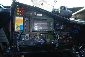MY Ady Gil - Cockpit of the Earthrace.