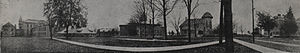 History of Eastern Michigan University - A panoramic view of the campus in 1908: Welch, Starkweather, and Sherzer in view