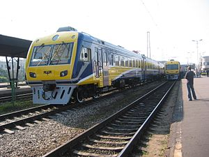 Rīgas Vagonbūves Rūpnīca - Refurbished ER2T in the Riga Central Station