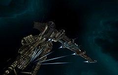 A Gallente constructed Catalyst class destroyer undocking.