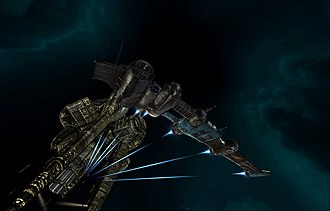 Eve Online - A destroyer-class ship leaving a station