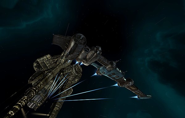 A destroyer-class ship leaving a station EVE Online - Gallente Frigate.jpg