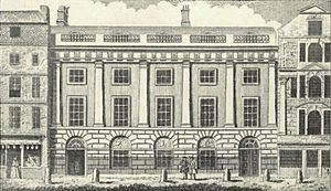 Sidewalk - East India House, Leadenhall Street, London, 1766. The sidewalk is separated from the main street by six bollards in front of the building.