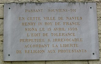 Edict of Fontainebleau - Plaque commemorating Edict of Nantes
