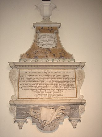 Edmund Gibson - Funerary monument, All Saints, Fulham, London