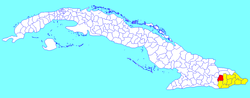 El Salvador municipality (red) within Guantánamo Province (yellow) and Cuba