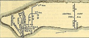 """86th Street Crosstown Line - A 1920 map of the 86th Street Line (far right), and the competing public bus route known as """"Route D""""."""
