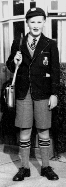 This photograph is of Patrick John McNeill about to leave home on his first day at Humberston Foundation School, Cleethorpes on 8th September 1953 - it depicts the school uniform of cap, blazer, shorts, tie and socks - Wikipedia