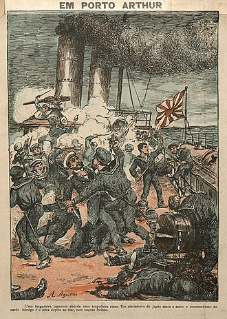 Battle of Port Arthur - A Japanese torpedo boat approaches a Russian torpedo boat. A Japanese sailor attacks with a saber the commander of the enemy ship and then throws him to the sea in a furious impetus (Angelo Agostini, O Malho, 1904).
