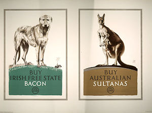 Empire Marketing Board - 'Buy Irish Free State Bacon, Buy Australian Sultanas' - Empire Marketing Board poster.