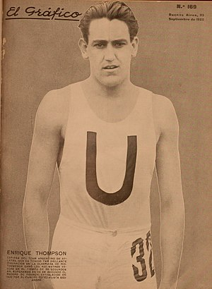Enrique Thompson - Thompson on the cover of El Gráfico, 1922