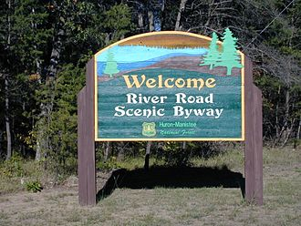 M-65 (Michigan highway) - Entrance sign for the River Road National Scenic Byway and the Huron National Forest