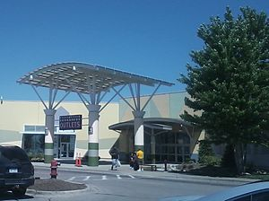 Great Lakes Crossing Outlets - An entrance on the mall's south side near Marshalls and Lord & Taylor Outlet, May 2014.