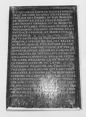 Jacques d'Étampes de Valençay -  Commemorative plaque displaying epitaph of Jacques d'Étampes de Valençay