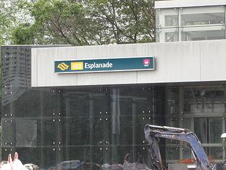 Esplanade MRT station - A signage board of Esplanade MRT station.