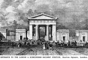 """Euston Arch:"" the original entrance to Euston Station, as enlarged, ca 1851"