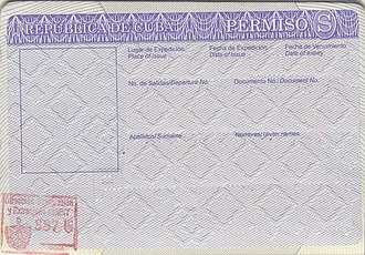 Cuban passport - Formerly required exit permit stamped on a Cuban passport