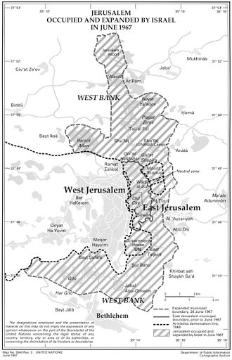 Jerusalem Governorate - Expanded Jerusalem with Israeli municipal boundary of annexed area, 1967