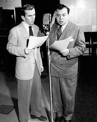 The Aldrich Family - Jackie Kelk (left) as Homer Brown and Ezra Stone as Henry Aldrich on the air, 1947.