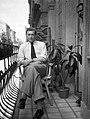 Férfi portré 1949-ben az erkélyen. Fortepan 54129.jpg
