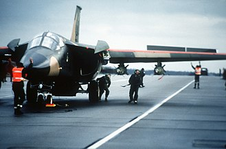 General Dynamics F-111 Aardvark - Ground crew prepares an F-111F of the 48th Tactical Fighter Wing for a retaliatory air strike on Libya.
