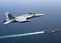 F-A 18 Super Hornet, over USS Theodore Roosevelt (CVN 71).jpg