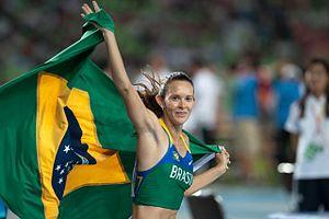 2011 World Championships in Athletics – Women's pole vault - Fabiana Murer celebrating her victory at Daegu
