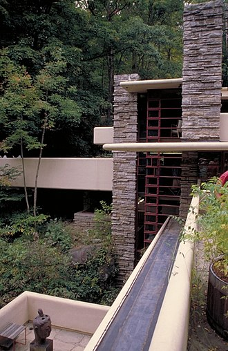 Fallingwater - The strong horizontal and vertical lines are a distinctive feature of Fallingwater