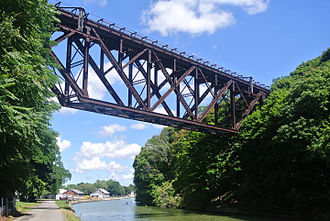 Falls Road Railroad - Bridge used by the Falls Road Railroad in Lockport, New York.