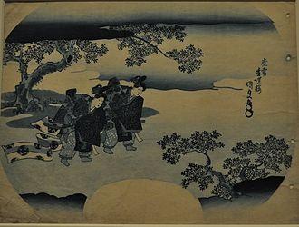 Uchiwa-e - Late Edo period uchiwa-e print of bugaku dancers
