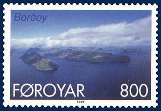 Borðoy - Stamp FR 353 of Postverk Føroya (issued: 25 May 1999; photo: Per á Hædd)