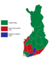 Finnish parliamentary election results by province, 1991.png