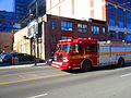 Fire trucks turn West on Front, fromt station 333, 2016 04 15 (2) (26435499961).jpg