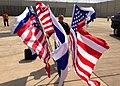 Flags Flutter in the Wind at Ben Gurion International Airport.jpg