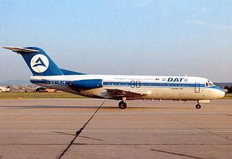 Delta Air Transport - A DAT Fokker F28 Fellowship at Stuttgart Airport in 1991.