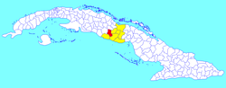 Fomento municipality (red) within Sancti Spíritus Province (yellow) and Cuba
