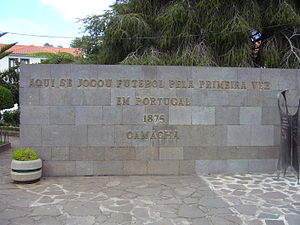 Football in Portugal - Monument in Camacha, celebrating the first ever organised football game in Portugal