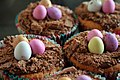 Four Easter cupcakes with chocolate eggs, March 2008.jpg
