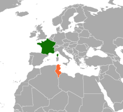 Map indicating locations of France and Tunisia