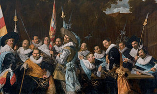 <i>The Officers of the St Adrian Militia Company in 1633</i> Group militia painting (schutterstuk) by Frans Hals