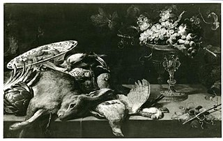A still life with game and fruit on a table