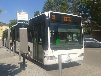 Kehl - French bus awaits departure at Kehl's Stadthalle