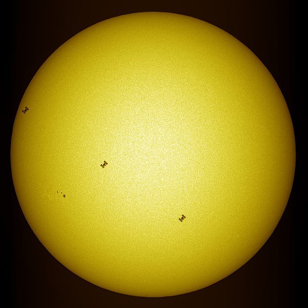 ISS transit in front of the sun taken by USET telescope
