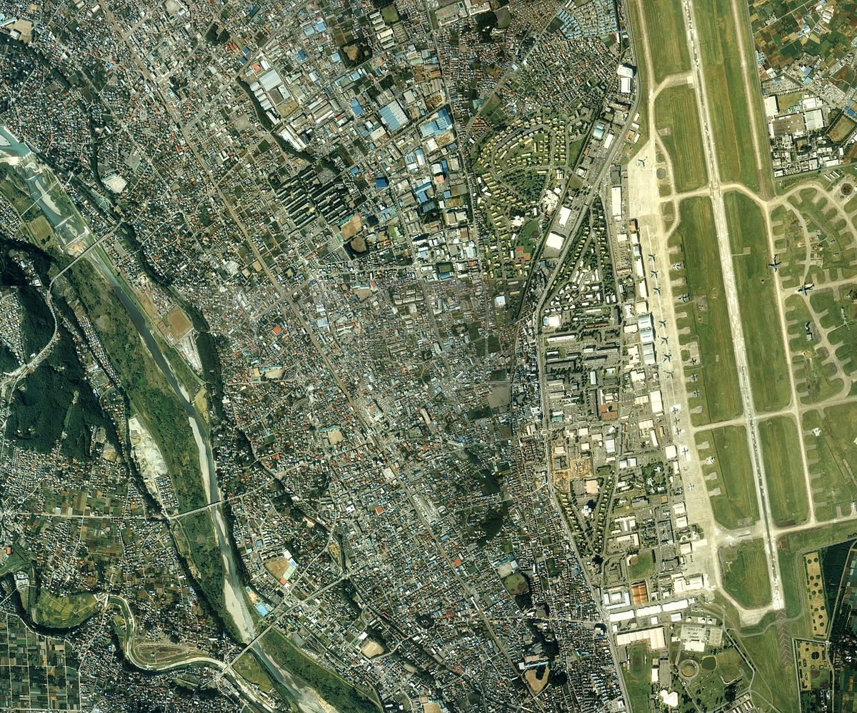 Fussa city center area Aerial photograph.1989.jpg