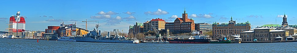 Panoramic view of Gothenburg's downtown coast line