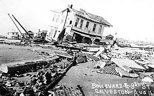 House destroyed by storm surge of the 1915 Gal...